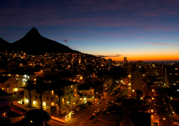Lions head at night